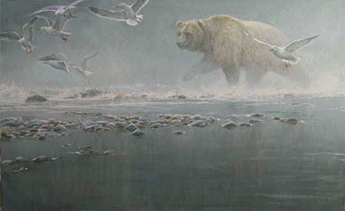 Robert Bateman-above the rapids gulls and grizzly