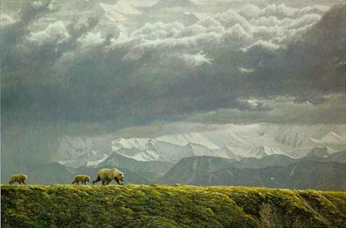 Robert Bateman-along the ridge grizzly bear