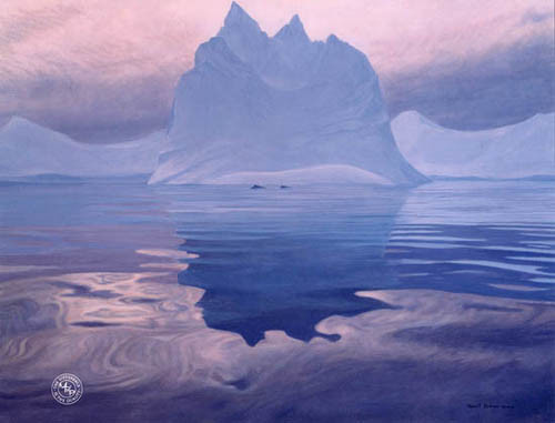 Robert Bateman-antarctic evening humpback whales