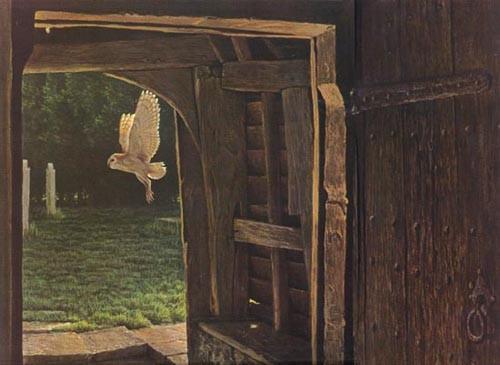 Robert Bateman-barn owl in the churchyard