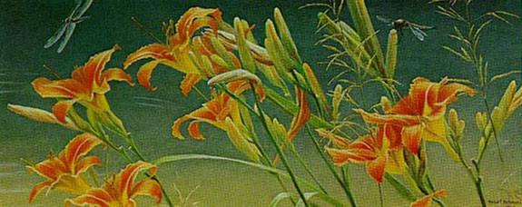 Robert Bateman-daylilies and dragonflies