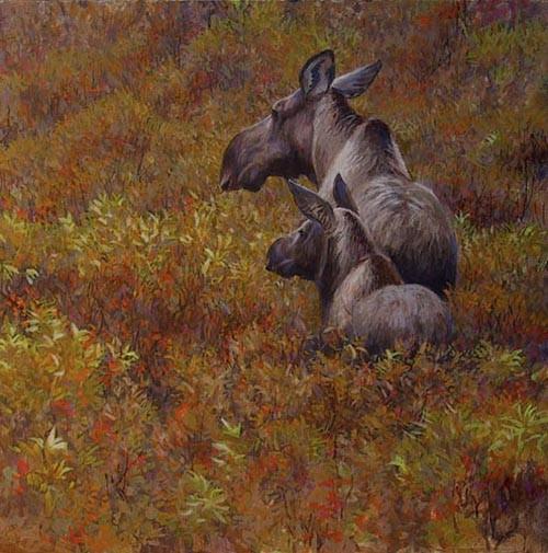 Robert Bateman-fall forage moose cow and calf
