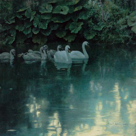 Robert Bateman-great dunford mute swans