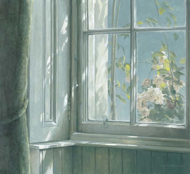 Robert Bateman-manor house wren roses