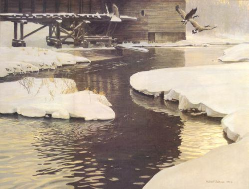 Robert Bateman-millpond canada geese