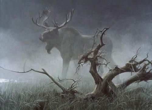 Robert Bateman-moose in moonlight