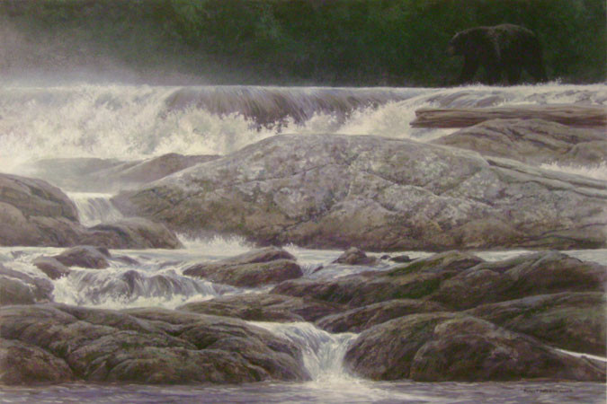 Robert Bateman-navigating the rapids black bear