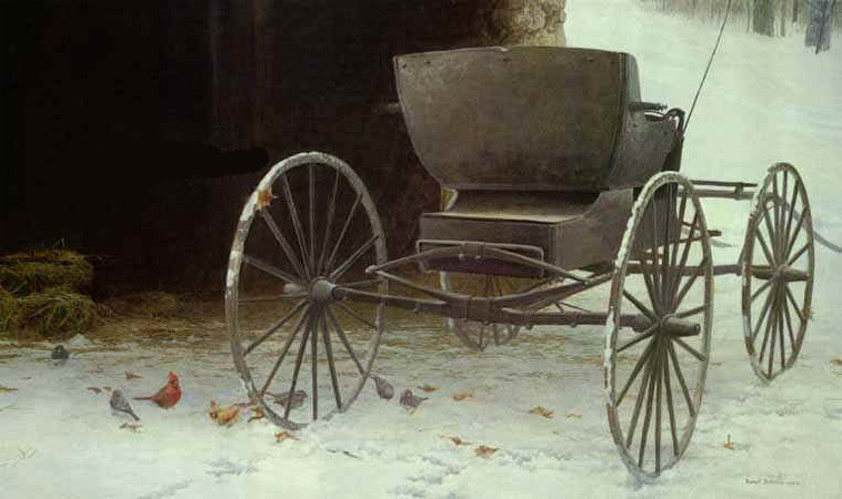 Robert Bateman-old buggy and winter birds