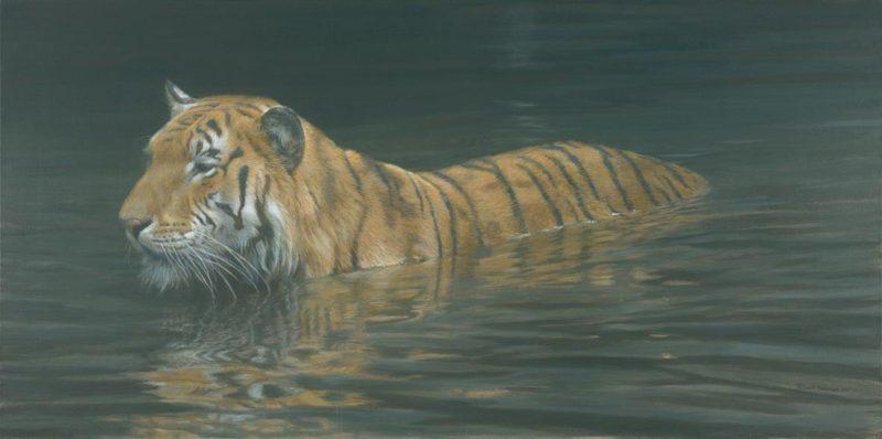 Robert Bateman-river ford tiger