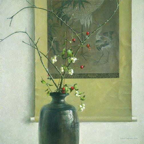 Robert Bateman-still life with chinese scroll