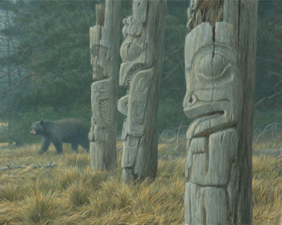 Robert Bateman-totem and bear