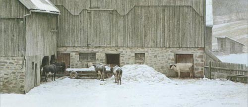 Robert Bateman-winter barnyard