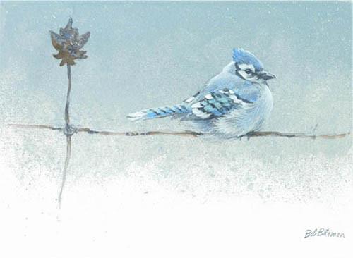 Robert Bateman-winter blues bluejay