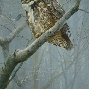 Robert Bateman-winter mist great horned owl