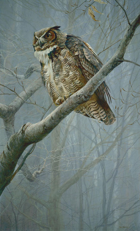 Robert Bateman-winter mist great horned owl
