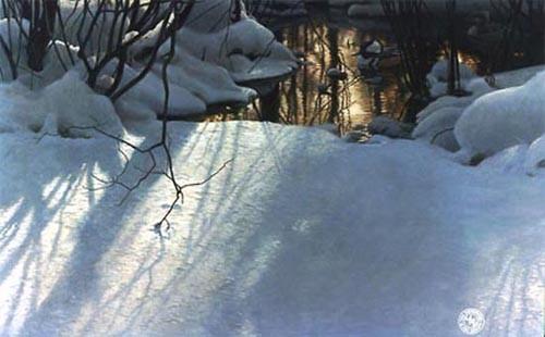Robert Bateman-winter pond mergansers