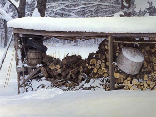 Robert Bateman-woodshed in winter ermine