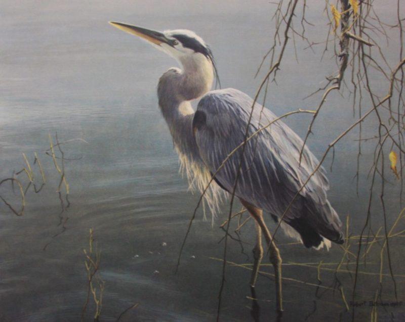 Robert-Bateman-Wading-Heron-and-Willow